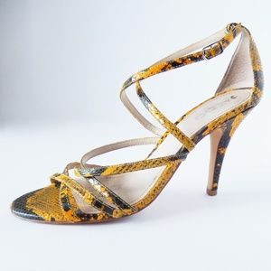 Aldo Black & Yellow Snakeskin Strappy Heels